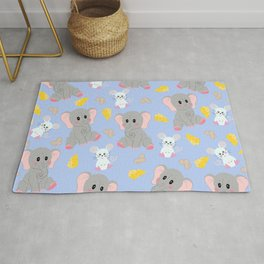 Cute Gray White Elephant Mouse Peanut Cheese Rug