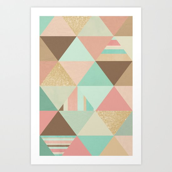 Peach, Mint and Gold Triangles Art Print