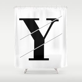 """Sliced Collection"" - Minimal Letter Y Print Shower Curtain"