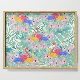 Tropical pink green watercolor floral colorful flamingo bird Serving Tray