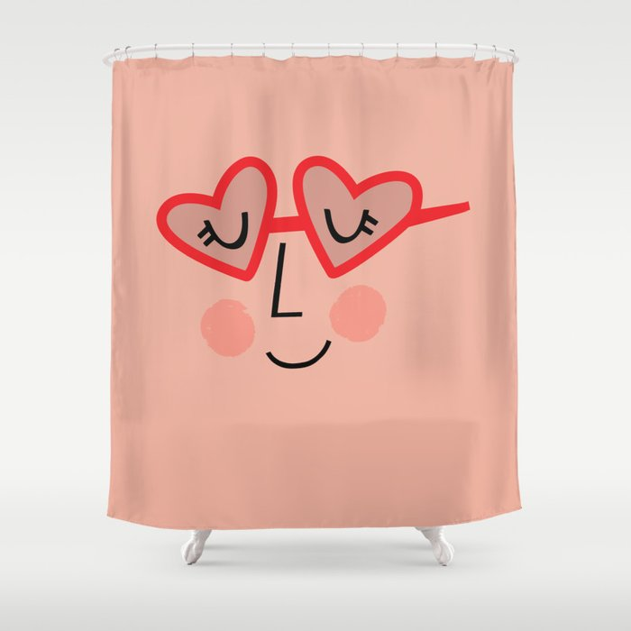 Heart Sunnies Face In Peach Shower Curtain By Lisaviado