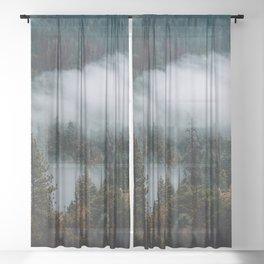 Mist Running through Yosemite Valley Sheer Curtain