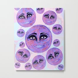 Bubble moons- pink and purple  Metal Print