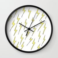 lightning Wall Clocks featuring Lightning by Jess Driscoll
