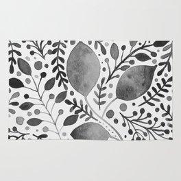 Black and white leaves Rug