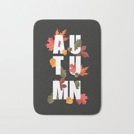 Autumn word and leaves WHITE Bath Mat