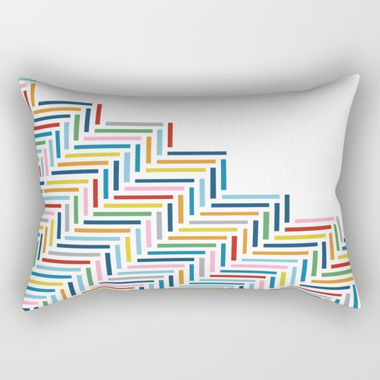 Herringbone Color Part Rectangular Pillow