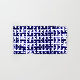 Navy and White Greek Key Pattern Hand & Bath Towel