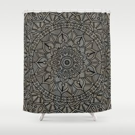 Circle of Life Mandala Brown and Blue Shower Curtain