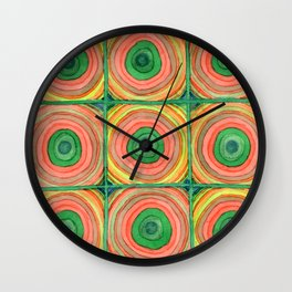Grid with Psychedelic Rings Wall Clock