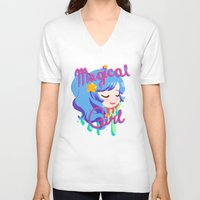 magical girl V-neck T-shirts featuring Magical Girl by Ferret Party