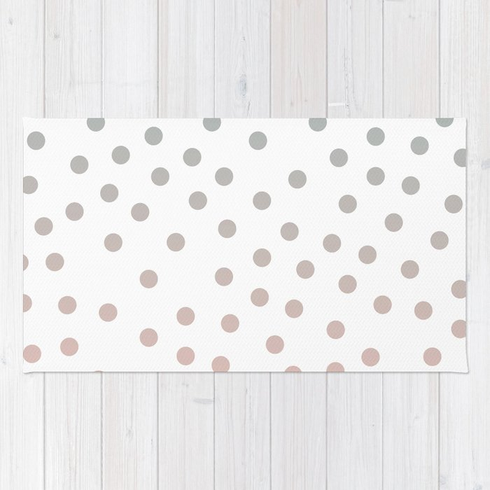 Simply Dots in Coral Peach Sea Green Gradient on White Rug
