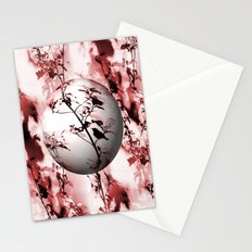 Silhouette of songbird on a branch in burgundy tone variation Stationery Cards