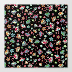 My small flowers on black Canvas Print
