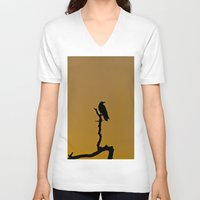 silhouette V-neck T-shirts featuring Silhouette by Ian Bevington