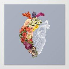 Flower Heart Spring Light Grey Canvas Print