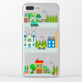 Cars in the town Clear iPhone Case