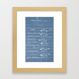 Library Card 23322 Negative Blue Framed Art Print