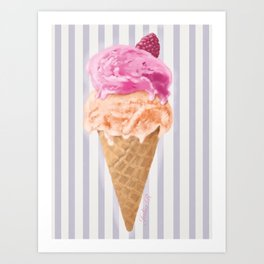 Peach and raspberry ice cream Art Print
