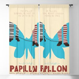 Papillon, Steve McQueen vintage movie poster, retrò playbill, Dustin Hoffman, hollywood film Blackout Curtain