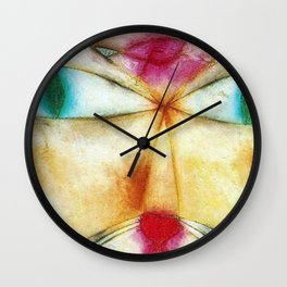 Classical Abstract Masterpiece 'Cat and Bird' by Paul Klee Wall Clock