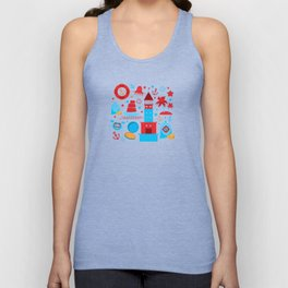pattern with sea icons on white background. Seamless pattern. Red and blue Unisex Tank Top