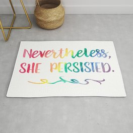 Nevertheless, She Persisted Rainbow Watercolor Typography Rug