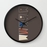 ohio state Wall Clocks featuring State Flag of Ohio Deconstructed by booj