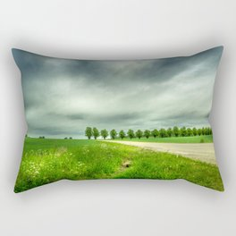 Countryside Landscape With Green Grass, Trees and Dramatic Sky Rectangular Pillow