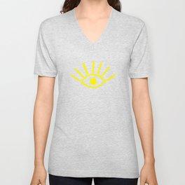 Yellow Evil Eye Pattern Unisex V-Neck