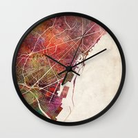 barcelona Wall Clocks featuring Barcelona by MapMapMaps.Watercolors