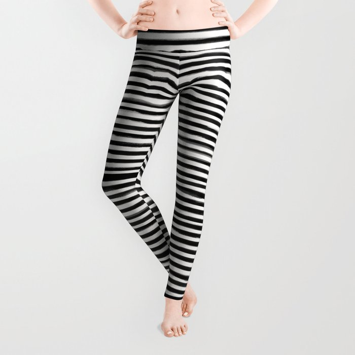 90599793e856c Skinny Stroke Horizontal Black on Off White Leggings by formcreative |  Society6
