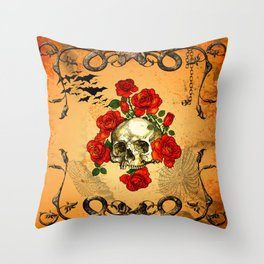 Skull with roses Throw Pillow