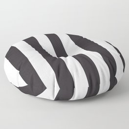 Raisin black - solid color - white vertical lines pattern Floor Pillow