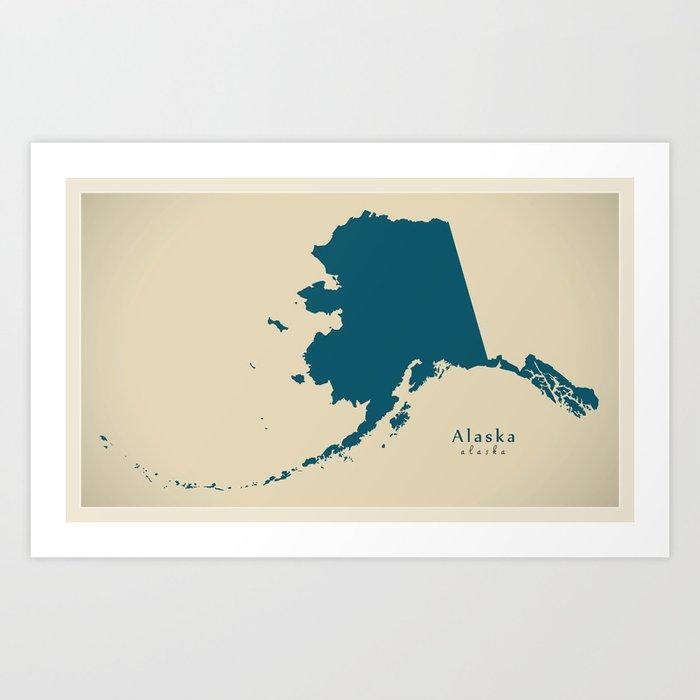 Blank Alaska Map.Modern Map Alaska Map Usa Illustration Refreshed Design Art Print