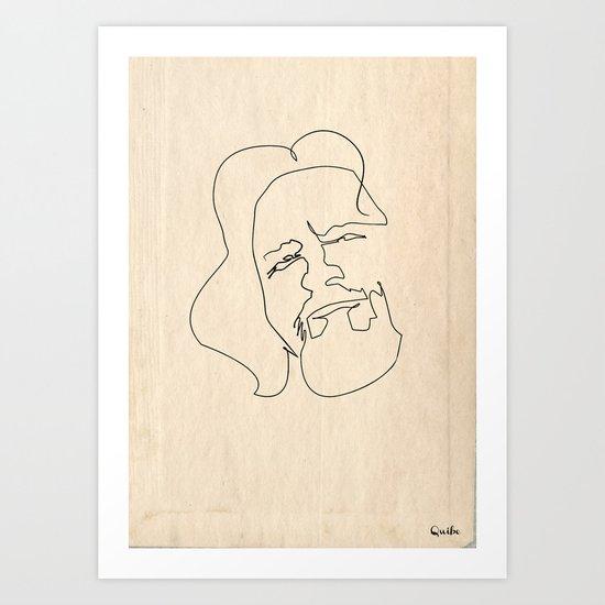One line Big Lebowski (The Dude) Art Print
