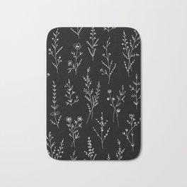New Black Wildflowers Bath Mat