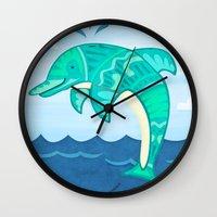 dolphin Wall Clocks featuring Dolphin by Claire Lordon