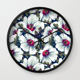 New Zealand Hibiscus Floral Print (Night) Wall Clock