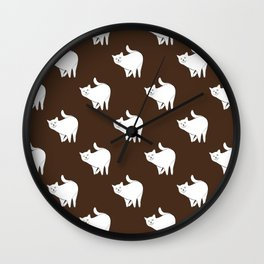Cute Cats Pattern | Brown Wall Clock