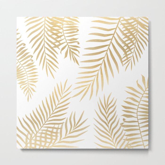 Gold palm leaves Metal Print