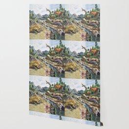 Jurassic dinosaurs in the river Wallpaper