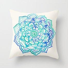 Watercolor Medallion in Ocean Colors Throw Pillow