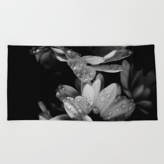 Flower and drops. Black and white. Beach Towel