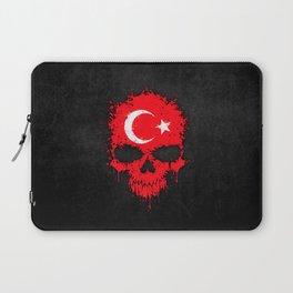 Flag of Turkey on a Chaotic Splatter Skull Laptop Sleeve