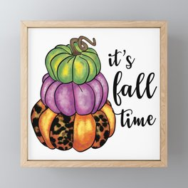 Fall Time Quote Colorful Pumpkins Crafty Framed Mini Art Print