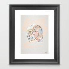One line Dredd Helmet Framed Art Print