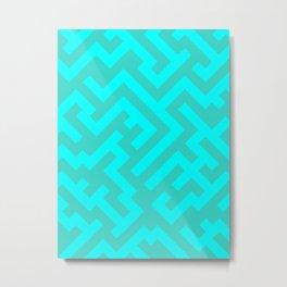 Cyan and Turquoise Diagonal Labyrinth Metal Print