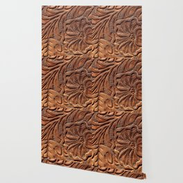 Vintage Worn Tooled Leather Wallpaper