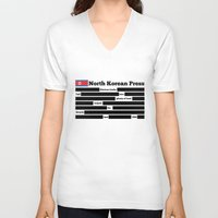 korea V-neck T-shirts featuring North Korea News Paper by pollylitical